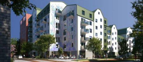 Såhär kommer ByggVestas hus i Rosendal att se ut med Lex Zooz muralmålning. Bild: Mir/Utopia.