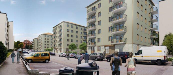 Familjebostäder bygger tillsammans med Skanska fyra punkthus, med lägenheter i storlekarna 55-75 kvm, längs Nordmarksvägen i Farsta Strand.