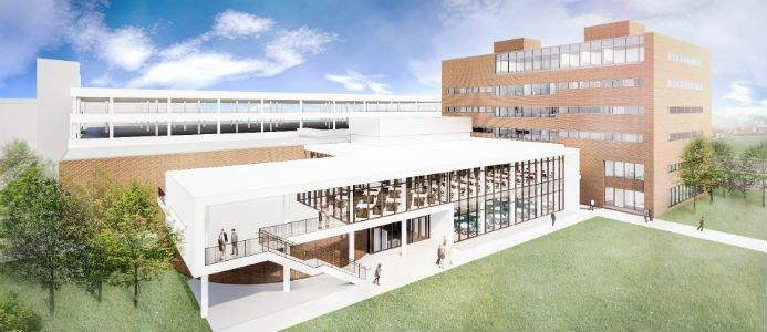 Skanska kommer att renovera den befintliga anläggningen på 9 300 kvadratmeter och bygga en 1 400 kvadratmeter stor utbyggnad. Illustration: Skanska