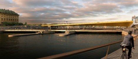 Bron kostar 198 miljoner kronor, är 140 meter lång och väger 3 700 ton. Illustration DBOX.