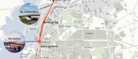 Utbyggnaden av järnvägen genom Varberg är en del i utbyggnaden av hela Västkustbanan genom Göteborg och Lund. Bild: Varbergs kommun