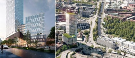 Kontorshuset kommer att bli 36 våningar högt, motsvarande 144 meter, och får en total uthyrningsbar yta om cirka 42 000 kvadratmeter. Visionsbild från Skanska.