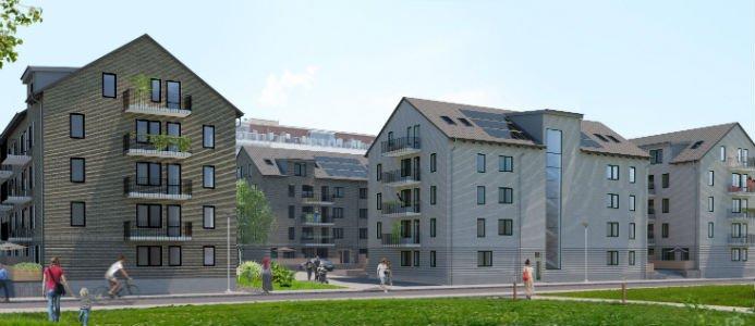 De nya husen i kvarteret Landevi gårdar byggs i anslutning till Landvetter centrum och de kommer att inrymma 102 lägenheter. Bild: Skanska