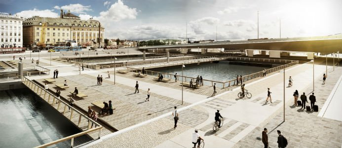 Så är det tänkt att det ska se ut när huvudbron är på plats mellan Södermalm och Gamla Stan. Illustration: White Arkitekter/ Stockholms stad