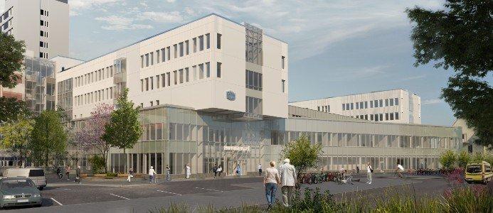 Vid Mälarsjukhuset, som är det största sjukhuset i Sörmland, placeras en ny huvudentré i byggnaden. Fotograf: Carlstedt Arkitekter