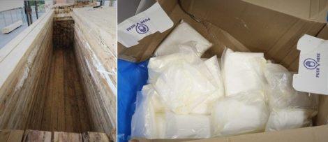 Bild: Tullverket. Bilden till vänster: I det här utrymmet påträffades stora mängder narkotika. Bild till höger: I utrymmet hittades bland annat amfetamin.
