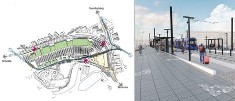 Förslag på dragningen av tvärbanan mot Kista. Illustration: CBRE GI och förslag på tvärbanans nya hållplats för Bromma flygplats. Illustration: SL