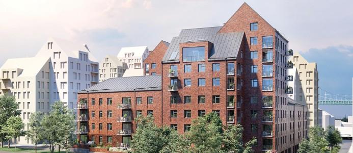 Lägenheterna bildar kvarteret HSB brf Sannaparken och ingår i det nya bostadsområdet Fixfabriken som utvecklas i Majorna i västra Göteborg. Illustration: HSB