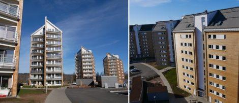 Peab har byggt sex niovåningshus med totalt 189 lägenheter, komplementbyggnader och garagelängor. Foto: Peab