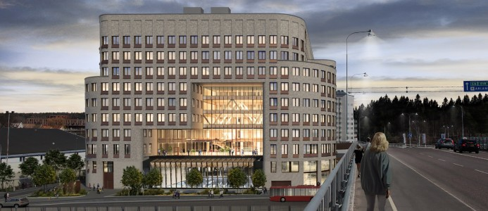 Kontorshuset kommer att miljöklassas enligt BREEAM Excellent. llustration: Walk the Room