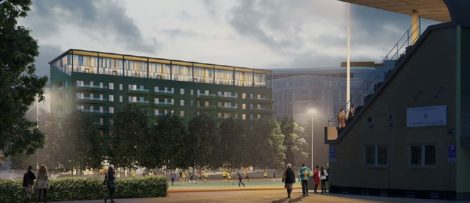 Förslag på nytt bostadshus, vy från idrottsplatsen. Illustration: Alessandro Ripellino Arkitekter