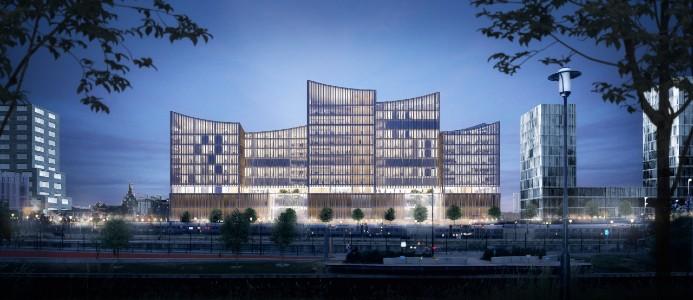 Byggnaden kommer certifieras enligt högsta miljöcertifieringsnivån Miljöbyggnad Guld. Fotograf: Henning Larsen Architects