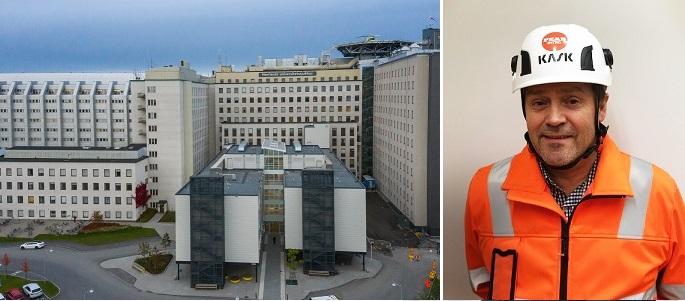 Sven Lindström, platschef på Peab. Foto (sjukhuset): Klas Sjöberg/ Region Västerbotten.