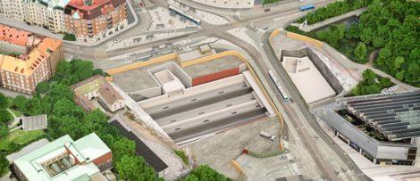 Så här kommer Korsvägen att se ut efter sommaren och under hela byggtiden fram till 2024. I schaktet byggs Västlänkens station för Korsvägen. Trafiken färdas på en tillfällig bro över schaktet. Bilden är tagen norrut. Bildkälla: Trafikverket