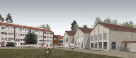 Skola och förskola i Pakilanpuisto. Illustration: Architects Rudanko + Kankkunen and Architects Frondelius + Keppo + Salmenperä