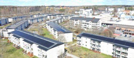 Med 3 195 solcellspaneler blir HSB brf Granen Stockholms största solcellsanläggning på bostadsfastighet .Foto: HSB