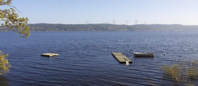 Fotomontage Rödene. 13 Vindkraftverk. Vy från Arlid (Bild: RES Renewable Norden)