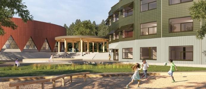 Skolan och idrottshallen kommer att miljöklassas enligt Miljöbyggnad 3.0 Silver. Illustration: Sandellsandberg arkitekter