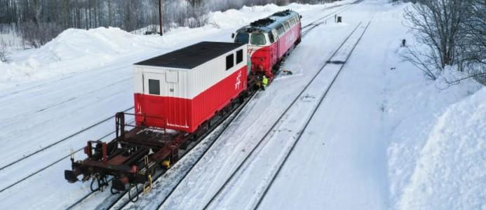 Tågvärmevagn, som används för att generera elektricitet och värma upp personvagnar. Foto: Inlandsbanan