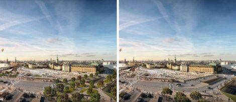 Illustrationer av hur Guldbron kan se ut med och utan grönska. Foto: (Vänster) DBOX/Vardag arkitekter (Höger) DBOX