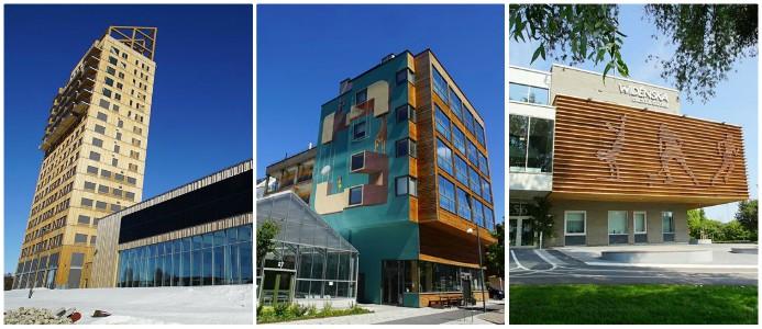 Mjöstornet, Vallastaden och Västerås universitet som samtliga byggts med trä från Woodsafe. Foto: Woodsafe
