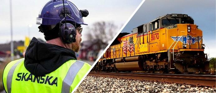 Bild på en tekniker från Skanska och ett tåg i USA. Foto: (Vänster) Skanska, (Höger) Rene Rauschenberger / Pixabay
