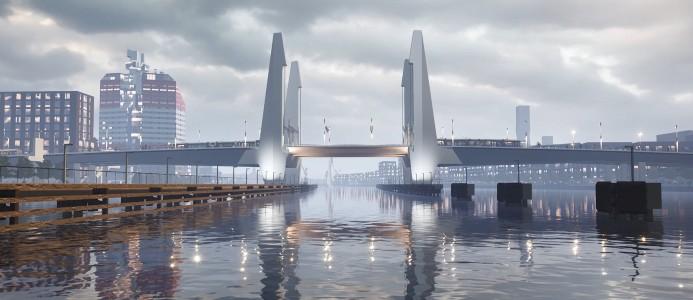 Såhär ska bron se ut när den är klar. Visualisering: Göteborg Stad