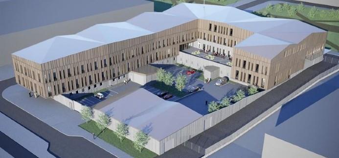 Illustration av det nya polishuset i Kiruna. Illustration: Sweco