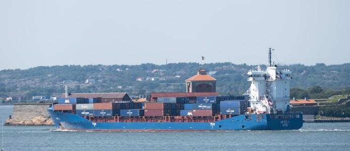 CMA CGM:s fartyg Aries J i Göteborgs hamns hamninlopp. Bild: Göteborgs Hamn AB