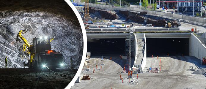 Pågående tunnelarbeten. Foto: Mikael Ullén. Tunnelmynningen, Kungens Kurva. Foto: Holger.Ellgaard / CC BY-SA