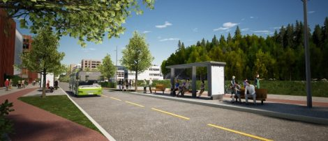 Peab har fått uppdraget att bygga en ny huvudgata på Skårersletta i Lørenskog utanför Oslo. Illustration: Norconsult/Baezeni