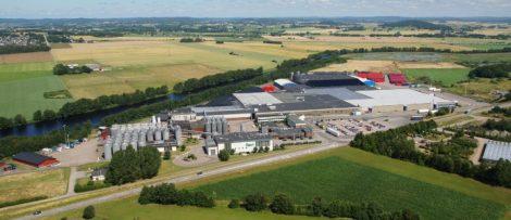 Carlsberg Sveriges nya externlager ligger i anslutning till bryggeriet i Falkenberg. Foto: Carlsberg Sverige