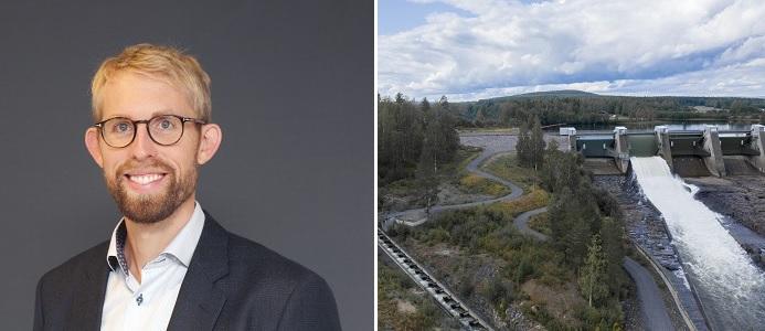 (Foto till höger) Johan Bladh, vattenkraftsexpert på Energiföretagen. (Foto till vänster) Storrnorrdfors. Foto: Jennie Pettersson.