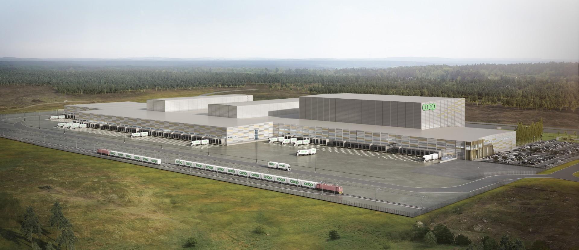 På tomten kommer Coop att bygga två egna tågspår på 1 km. Bild: Coop
