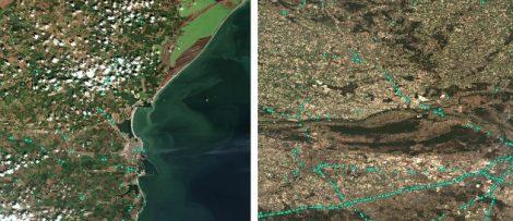 Lastbilar observerade från satellit
