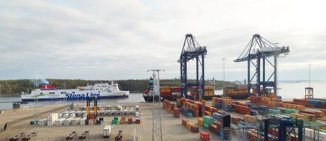 Första roro-fartyget Stena Flavia i Stockholm Norvik Hamn. Byline: Stockholms Hamnar/Per-Erik Adamsson