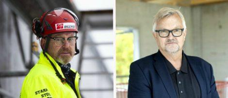 Johan Lindholm, förbundsordförande Byggnads och Mats Åkerlind, förhandlingschef på Byggföretagen.