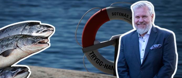 Roy Høiås, vd på Quality Salmon i Sotenäs AB. Bilden är ett collage. Bild: (Porträtt) Pressefoto / (Bakgrund) Paul (CC BY-NC-SA 2.0) via Flickr