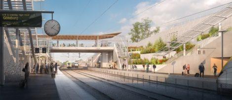 Gestaltningsbild över plattformarna vid framtida Varbergs station, med vy norrut på Västkustbanan mot Göteborg. Illustration: Abako