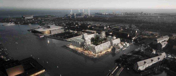 Ritning över det nya området Christiansholm på Papirøen i Köpenhamn. Foto: NCC
