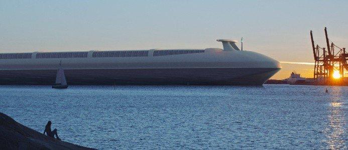 Elanslutning av fler fartyg, storskalig elektrifiering av fordon, förnybara bränslen, och mer gods på järnväg som är elektrifierad hela vägen fram till kajen. Detta är några av de miljardsatsningar som görs för ett hållbart godsflöde. Visionsbild: Göteborgs hamn